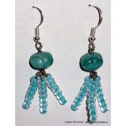Chobotničky - modré náušnice (náušničky) s korálky