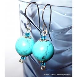 Stříbrné náušnice s modrou žíhanou korálkou (bižuterie)