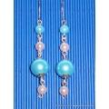 Stříbrné náušnice s modrými korálky a perličkami