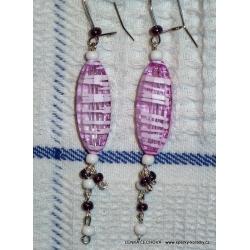 Stříbrné náušnice z korálků - fialové žíhané korálky (bižuterie)